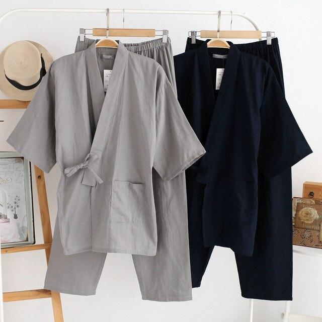 Gli uomini di Cotone Kimono Degli Indumenti Da Notte Set Nuovo di Stile 2Pcs Abito e Pantaloni di Usura A Casa Lungo Allentato Pigiama Tuta Solido degli indumenti da letto Con Tasca