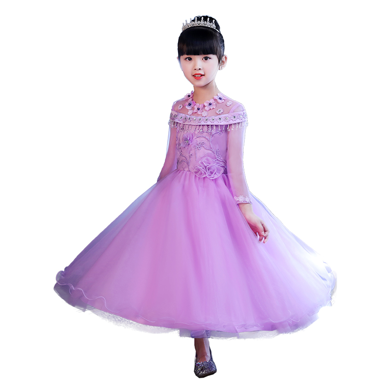 Childrens dress princess dress girls pettiskirt flower girl high-quality dress long-sleeved dress host piano costumes a82