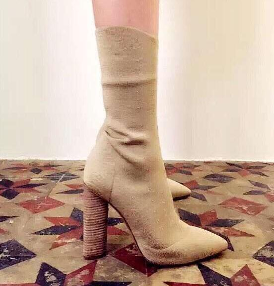 New Designer Branded Beige Green Knit Ankle Boots High Quality Pointy Toe Block Heel Ridding Boots For Women Size 10 Drop Ship inc new beige women s size small s faux leather knit motorcycle jacket $99