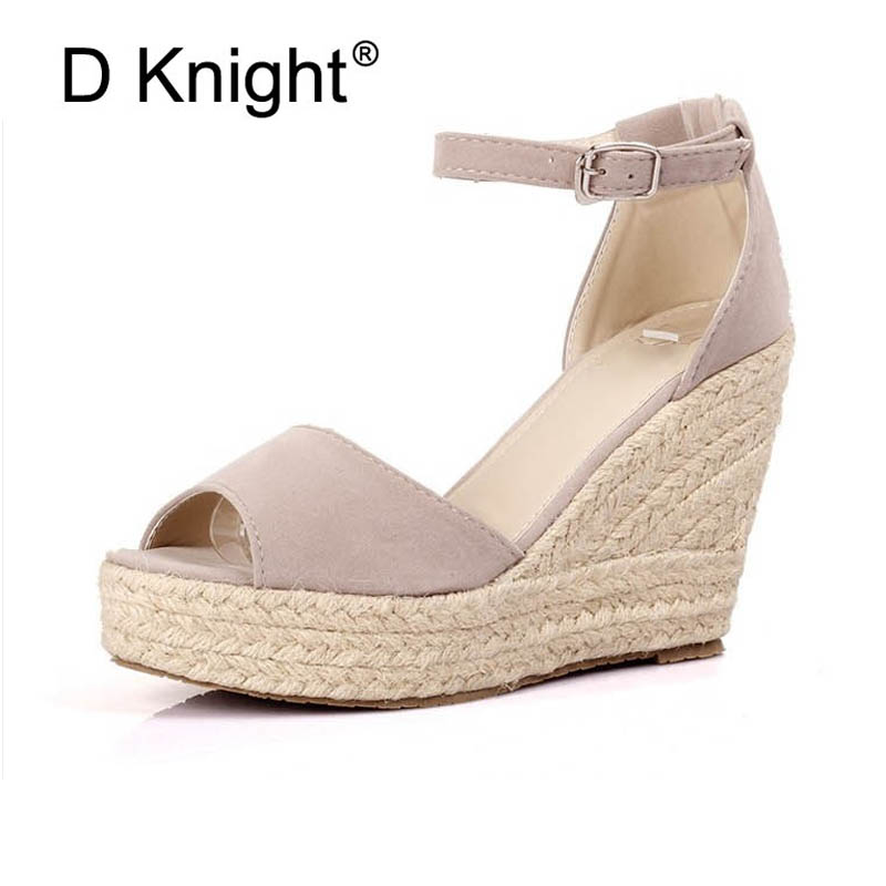 Womens Open Peep Toe Wedge Heel Esapdrille Sandals Shoes