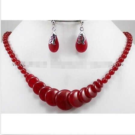 אדום רובי העגול חרוזים תליוני שרשראות עגילי סט aaa כיתה ^ 18 k gp סגנון פיין jewe נובל ירקן טבעי משלוח חינם