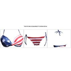 Сексуальный женский комплект бикини со звездами и полосками, флаг США, бандаж, бюстгальтер с подкладкой, купальник, Женский треугольный куп... 4
