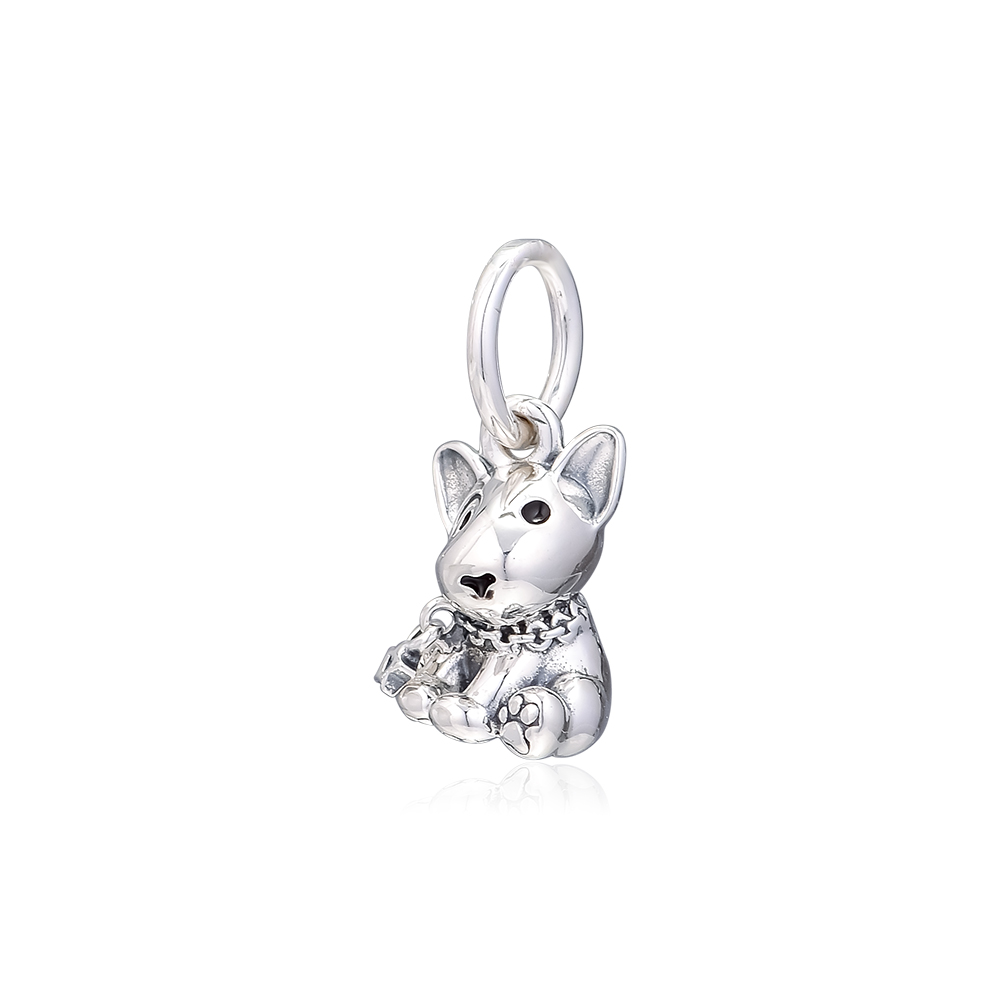 Abby Jewelry S925 Sterling Silver Bull Terrier Puppy Dangle Charms Beads For Woman European Bracelet Jewelry Making