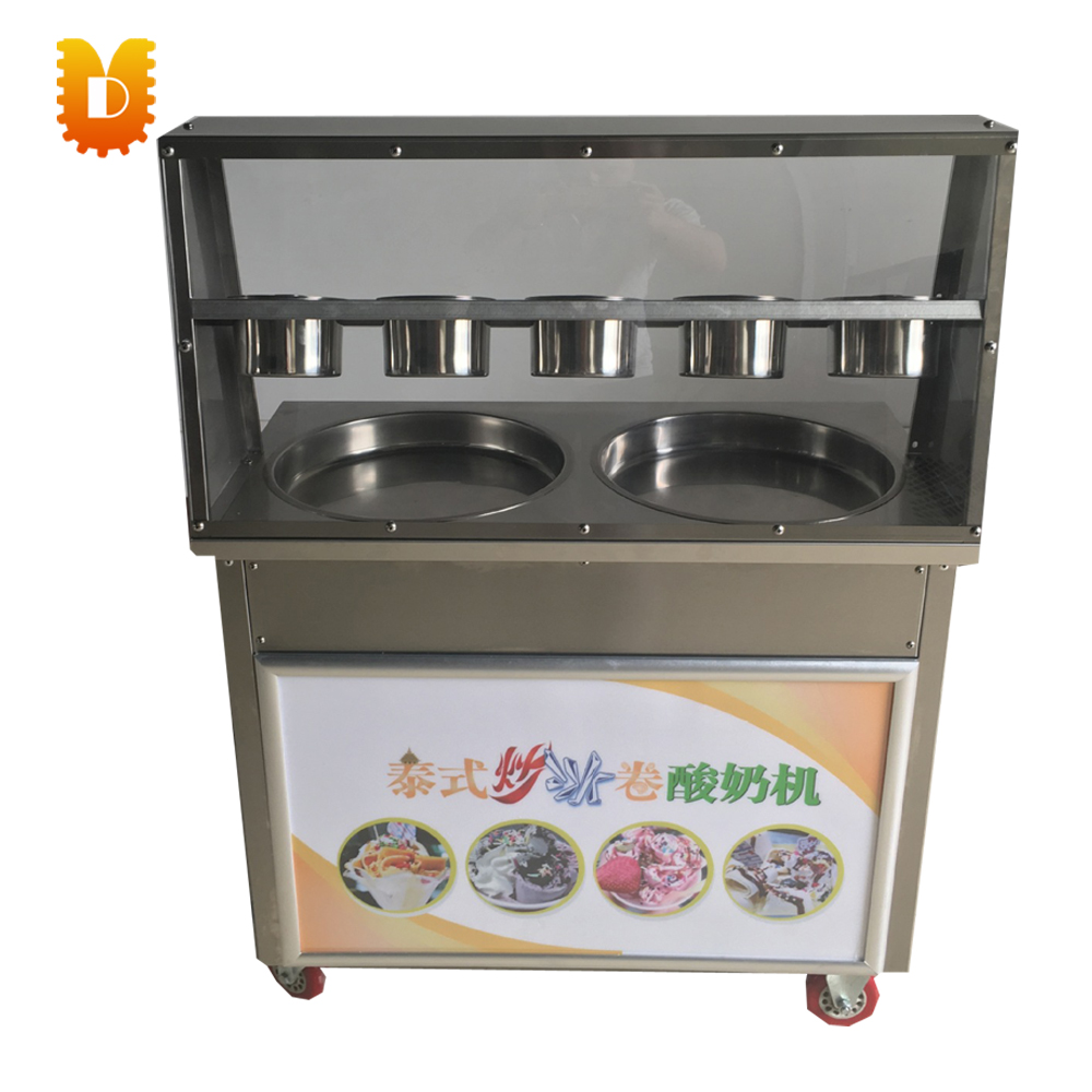 ice cream roll making machine yogurt  frying machine chinese single round pan rolled ice cream machine fried ice cream roll machine with 6 barrels