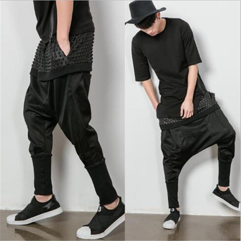 Mens Pants Black Loose Drop Crotch Cotton Wide Leg Comfort Free Size Solid Cargo