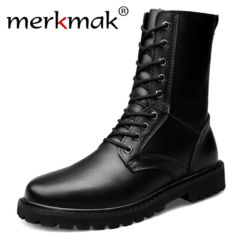 Merkmak Motorcycle Boots Men Genuine Leather Military Winter Boots With Fur Riding Casual Walking Shoes Big Size 50 Botas Hombre
