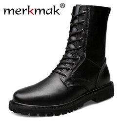 Merkmak botas da motocicleta dos homens de couro genuíno militar botas de inverno com pele equitação sapatos casuais tamanho grande 50 botas hombre