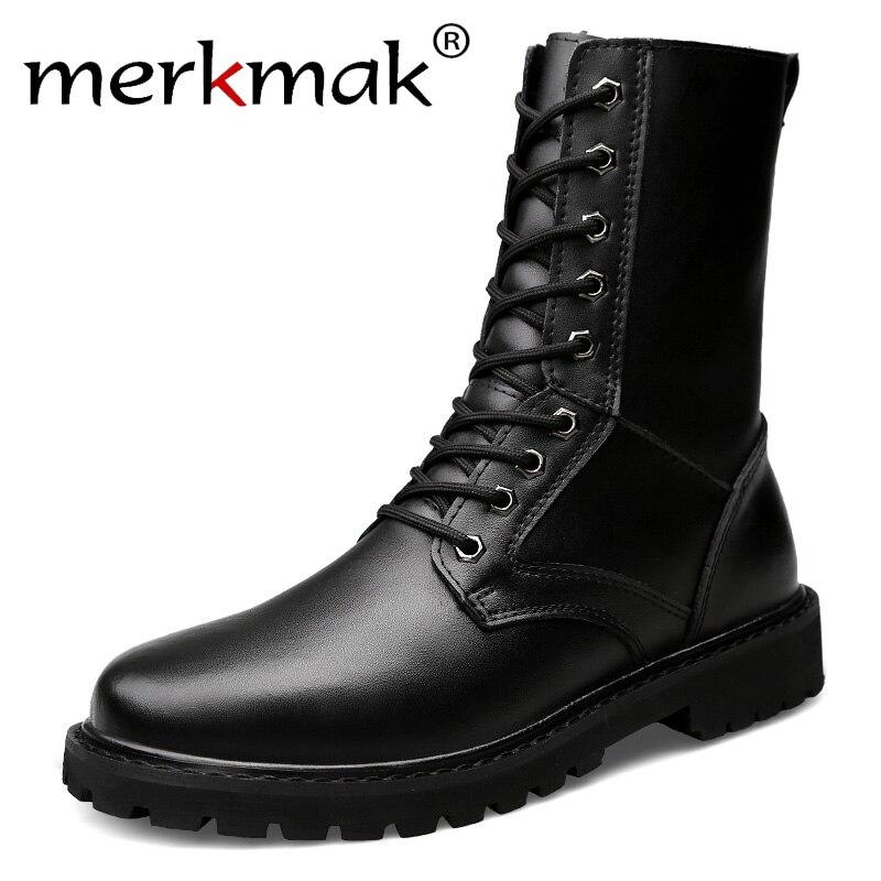 Merkmak moto bottes hommes en cuir véritable militaire hiver bottes avec fourrure équitation chaussures de marche décontractées grande taille 50 Botas Hombre
