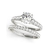 QYI 925 solid silver 1.0 Carats Round Cut Simulated diamond Wedding Ring Set Engagement Band Fashion Jewelry For Women