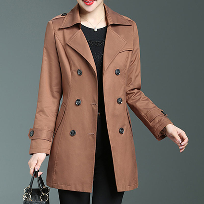 Middle age women's trench coat 2019 spring autumn elegant turn down collar double breasted adjustable sashes outerwear