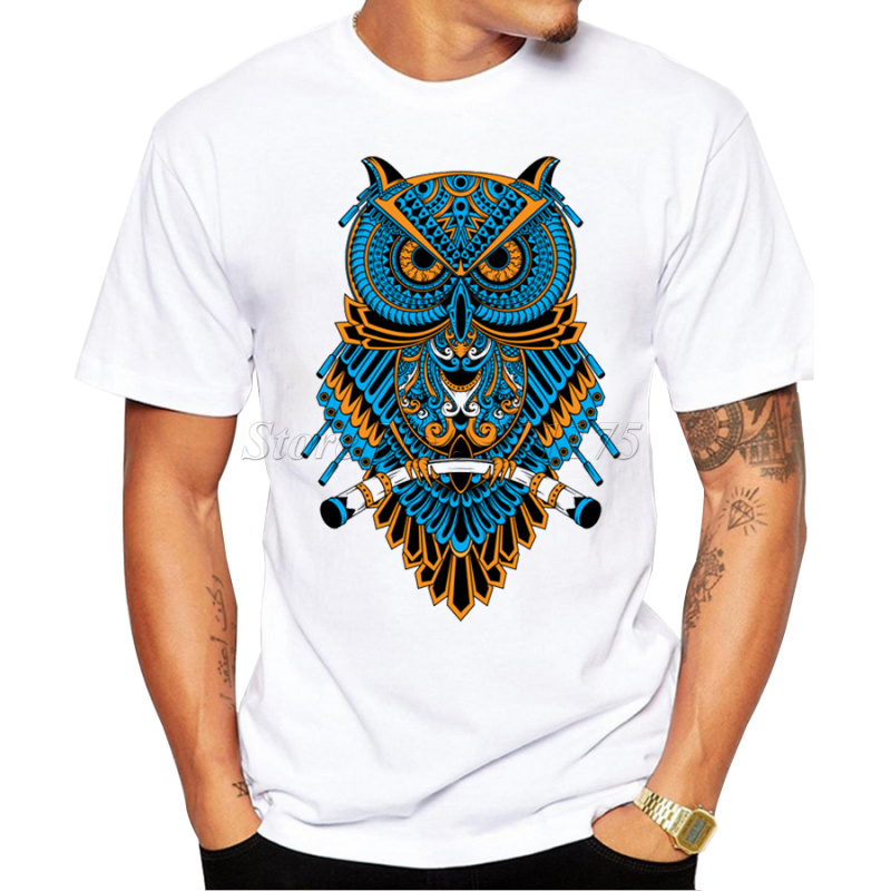 2017 men 39 s summer casual tops hipster machinery owl. Black Bedroom Furniture Sets. Home Design Ideas