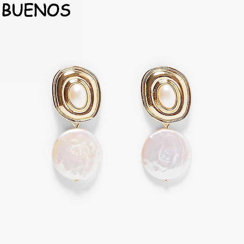 BUENOS 2019 Fashion Statement ZA Jewelry Imitation Pearl Oval Gold Dangle Earrings For Women Geometry Vintage Earrings CE0573