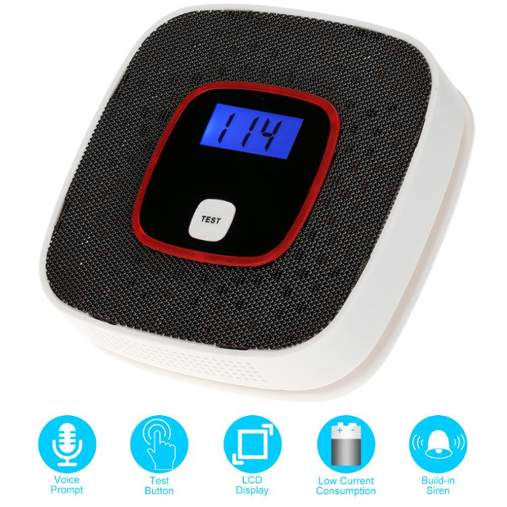 Metal Carbon Monoxide Alarm Battery Operated Detector For Fire Detection And Alarm System With Gas Tester Human Voice Warning