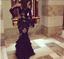 Black Lace Beaded Feather Mermaid Long Evening Dresses 2015 Sleeves Arabic Gowns abendkleider robe de soiree