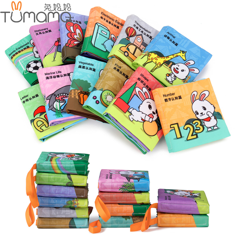 Tumama Baby Toys Soft Cloth Books 12 Themes Newborn Crib Bed Fabric Book Toys Infant Educational Stroller Book Toy 0-36 Months