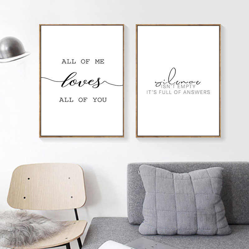 Nordic Canvas Posters Inspirational Pictures Minimalist Print Wall Art Black White Motivational Love Quote Painting Decoration