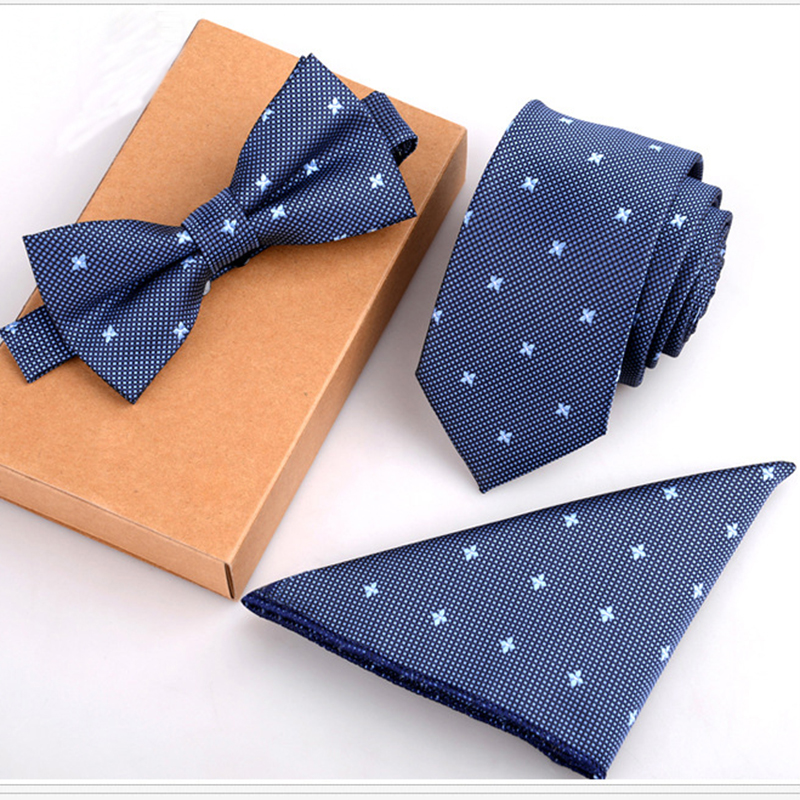 RBOCOTT Tie Sady Pánské Slim Tie Dot Květinové Kravaty Hanky ​​Bowtie 6cm Modré Kravata Pocket Square Bow Ties For Men Svatební Party No Box