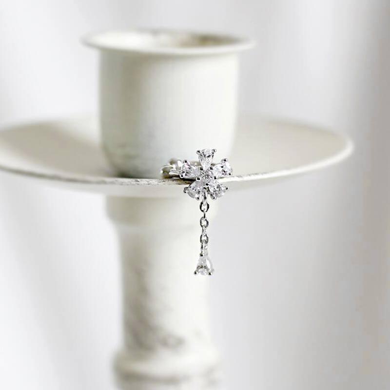 1PC Fashion 925 Sterling Silver Flower Cuff Earring Chain Tassel Ear cuff Clip delicate earcuff Fine Jewelry With Crystal in Earrings from Jewelry Accessories