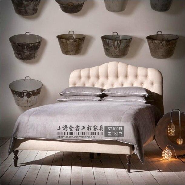 Francés muebles de madera maciza minimalista cama paquete blando ...