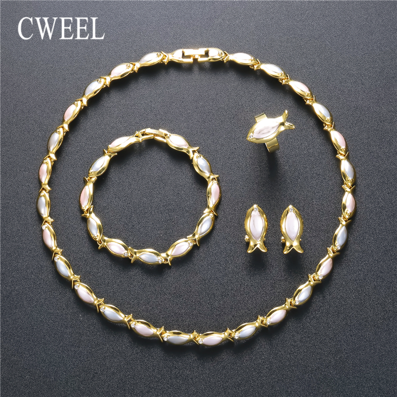 CWEEL Vintage Jewelry Sets Women Jewellry Ladies Charm Trendy Bridal