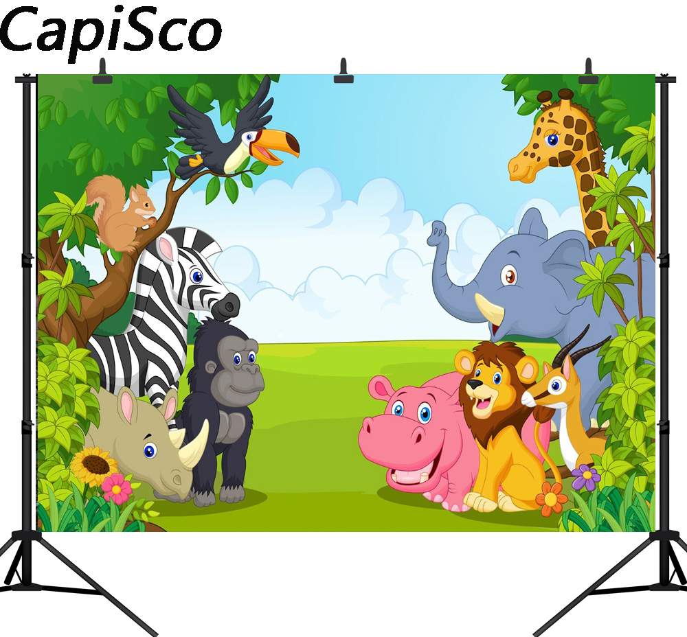 Capisco Seamless Jungle Safari Themed animals birthday party banner photo background Baby Kids Party photography backdrops