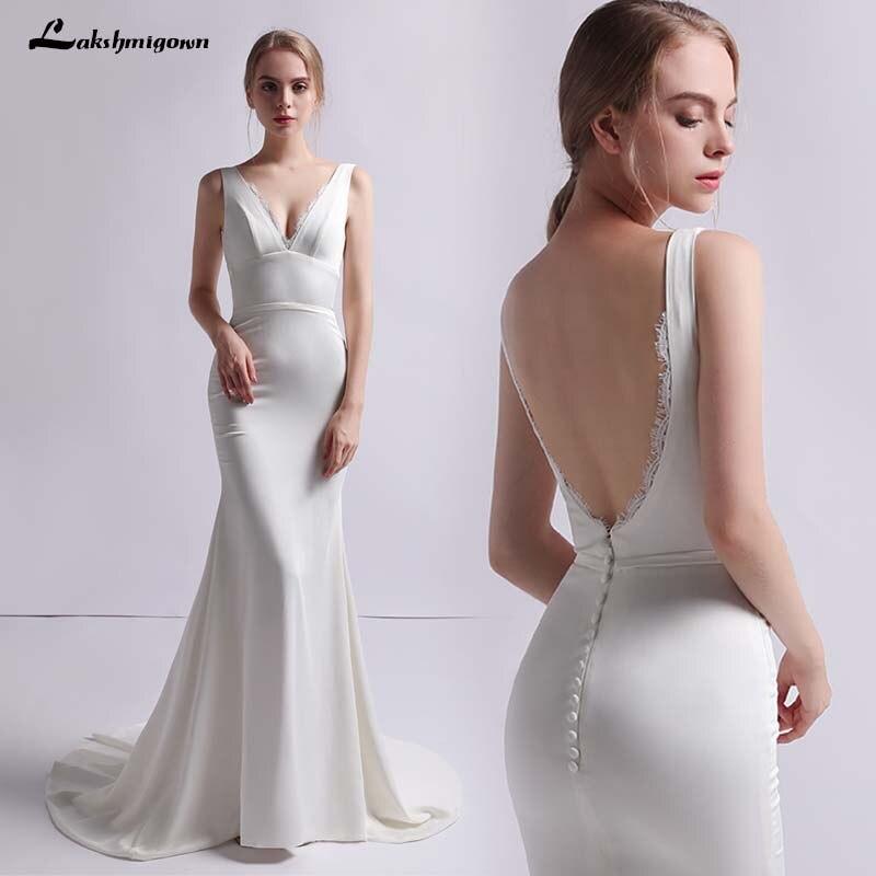 Latest Fashion Wedding Gowns: Simple Beach Wedding Dresses 2019 New Fashion Satin