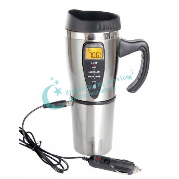 450ml Portabe Electric Cup Heated Coffee Mug Auto Intelligent Insulation With Cigarette Lighter Drop