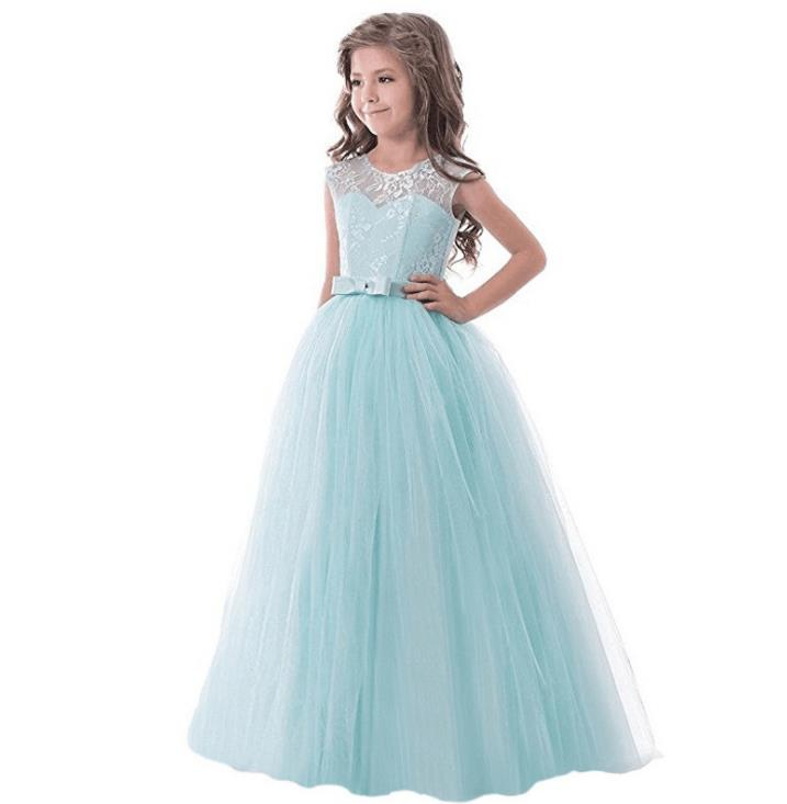 Evening Gown Dress with bow Wedding Child Kids Flower Girl Lace Beige Whites Gowns Purple Grey Lace Girls Tulle Dresses Long решетка alcaplast pure матовая pure 750m