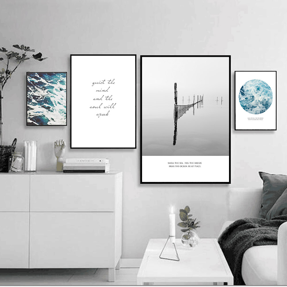 Beach decor wall art modern abstract art print minimalist - Sea Beach Landscape Minimalist Art Poster Print Motivational Quote Wall Picture Nordic Canvas Painting Home Decor