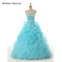 Luxury Sky Blue Ball Gown Quinceanera Dresses 2017 with Crystal and Ruffled Skirt Girls Long Party Prom Gowns sweet 16 dresses