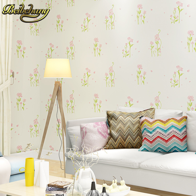 beibehang Fresh pastoral flowers non-woven wall paper roll wall covering wallpaper floral papel de parede wall papers home decor beibehang non woven pink love printed wallpaper roll striped design wall paper for kid room girls minimalist home decoration