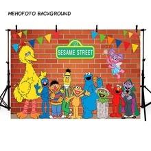 MEHOFOTO Elmo красная кирпичная стена фотографии фоны Улица Сезам баннер для вечеринки фото фон для дня рождения настроить