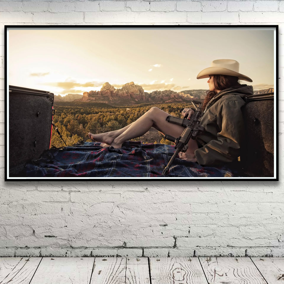 Nature Women Landscape Gun Mountain Art Silk Poster Home Wall Decor Pictures 11x20 16x29 20x36 Inches Unframed Free Shipping