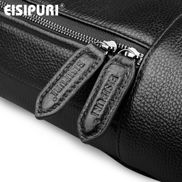EISIPUR Fashion Men 100% Genuine Leather Backpack Male High Quality Waterproof Bagpack 15.6 Laptop Backpack Travel School Bag 4