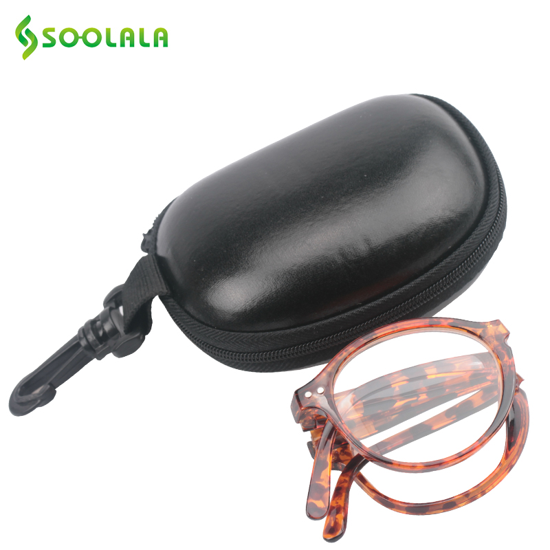 Soolala Women Men Foldable Reading Glasses W/ Leather Case Pocket Reading Glass +1.0 1.25 1.5 1.75 2.0 2.25 2.5 2.75 3.0 3.5 4.0