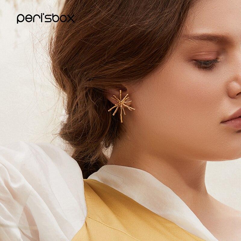 Peri'sbox Gold Color Metal Firework Stud Earrings for Women