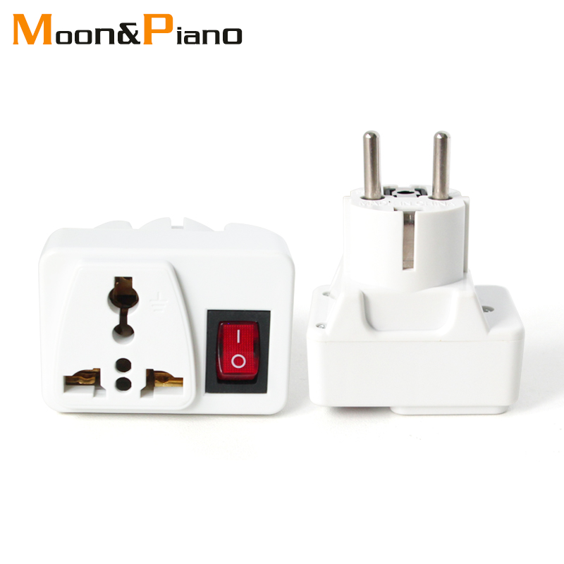 Universal UK US AU To EU AC Travel Power Adapters in France Germany Greece EU Plug Converter Electrical Charger With Switch