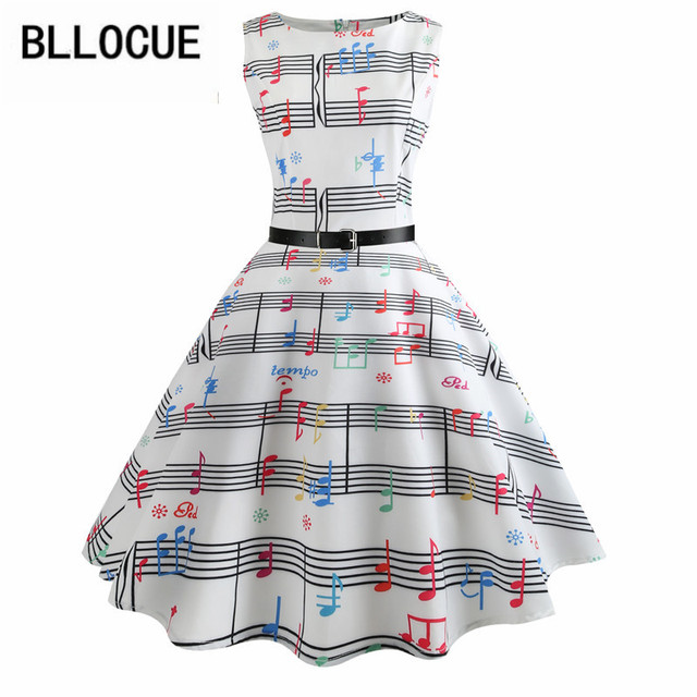 US $23.67 26% OFF|BLLOCUE Plus Size Women Clothing Vintage 50s Dress 2018  Summer Fashion Music Notes Swing Retro Robe Femme Casual Vestidos-in  Dresses ...