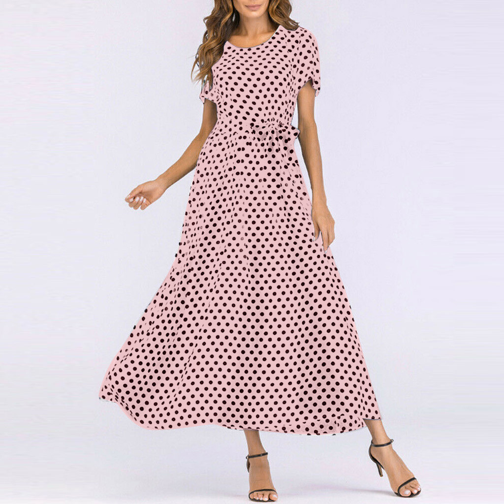 HTB1geuVaCWD3KVjSZSgq6ACxVXaT - Summer Dress Women O-Neck Short Sleeve Boho Polka Dot Bandage Maxi Long Dress Women Beach Sundress Plus Size Vestidos