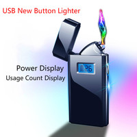 2019 New Double Arc Plasma Pulse Cigarette Cigar Lighters LCD Smart Screen Display Metal Electronic Lighter  gadgets for men