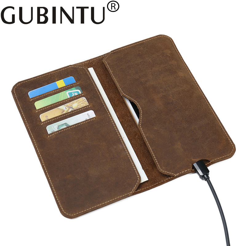 GUBINTU First Layer Cowhide Leather Men's Wallet Long Leather Clutch Bag Purse Retro Ultra-thin Phone Bag Wallet Clip Coffee