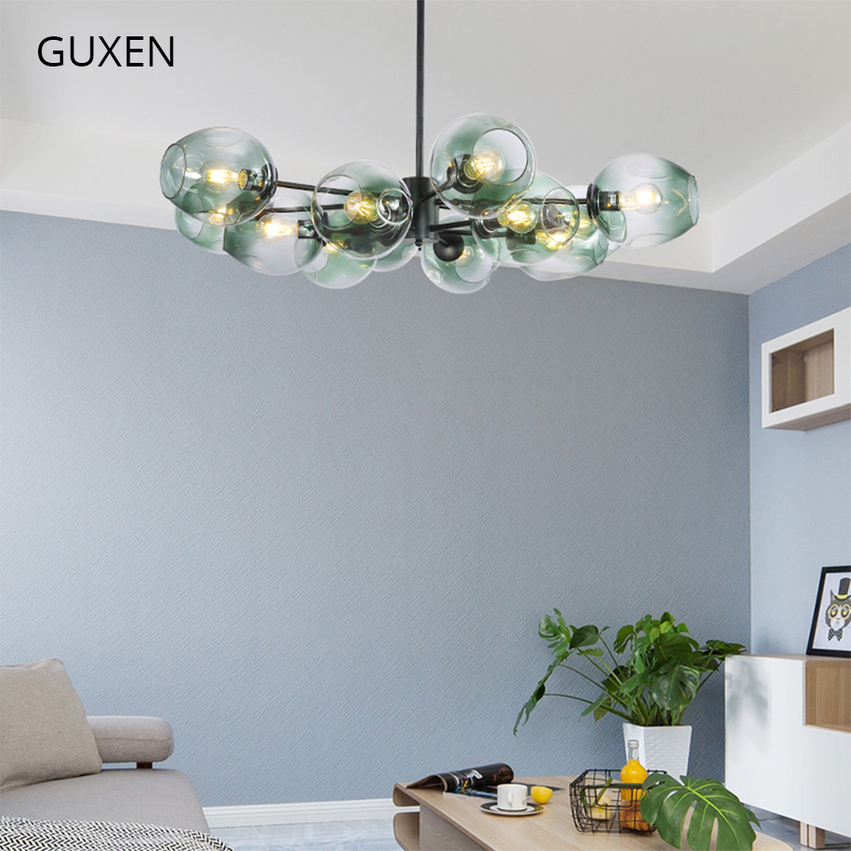 GUXEN Glass Ball Chandelier 6/8/12/16 head Classical lamp light for living room black/gold body 5 type glass case for choose guxen small hanging pendant light black body frosted glass light for dinner room