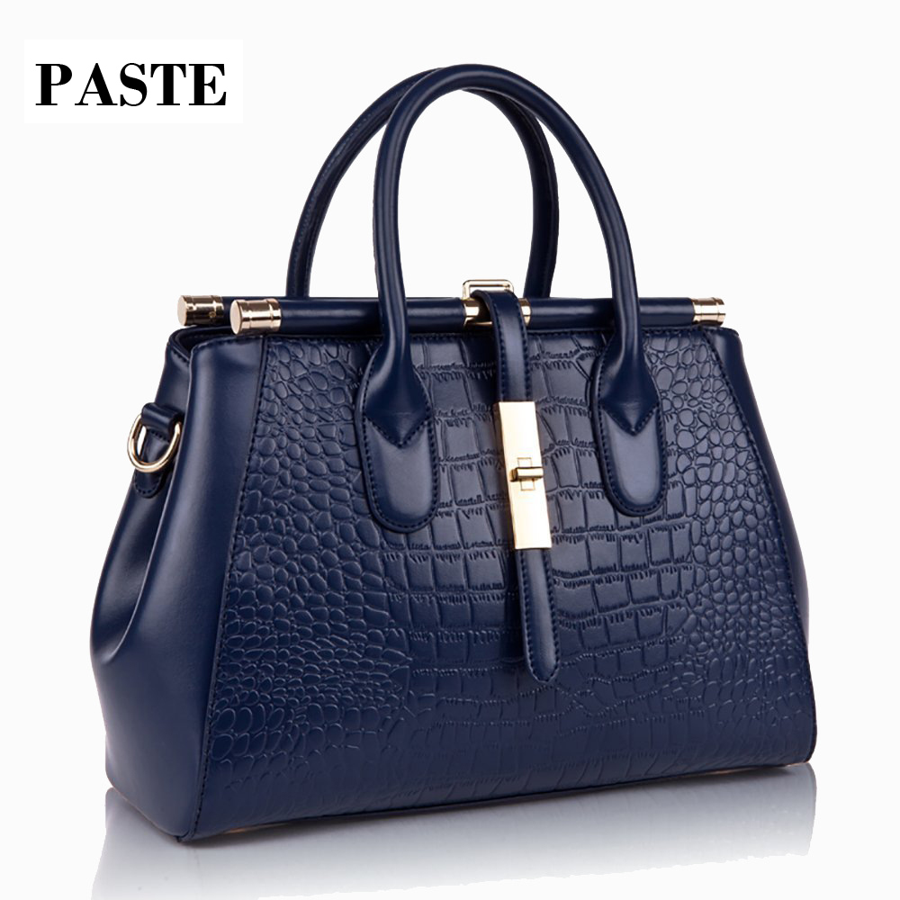 2017 Crocodile Pattern GENUINE LEATHER Shoulder Bags Large Embossed Cowhide Shiny Women Handbags OL bussniss document bag crocodile embossed pattern bright colour feminine genuine leather laptop backpack