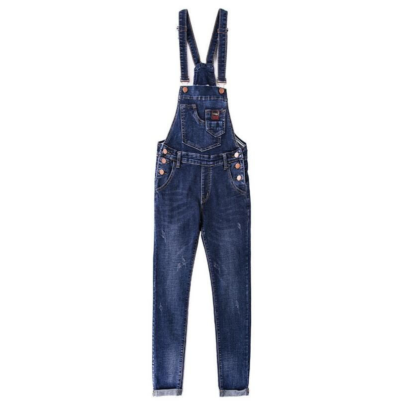 986bd367b93b 2018 New Spring Denim Jumpsuits Women Vaqueros Romper Long Pants Jeans  Overalls Suspender Female Slim nine