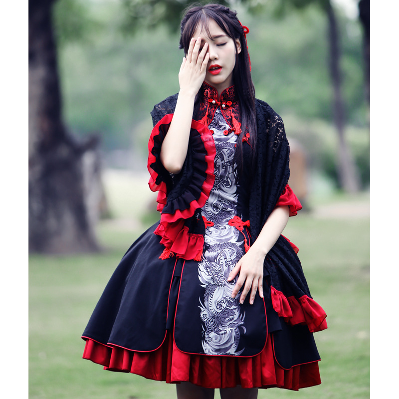 2018 new fashion Chinese style sweet Dragon print element girls sweet Lolita dresses Retro palace Gothic