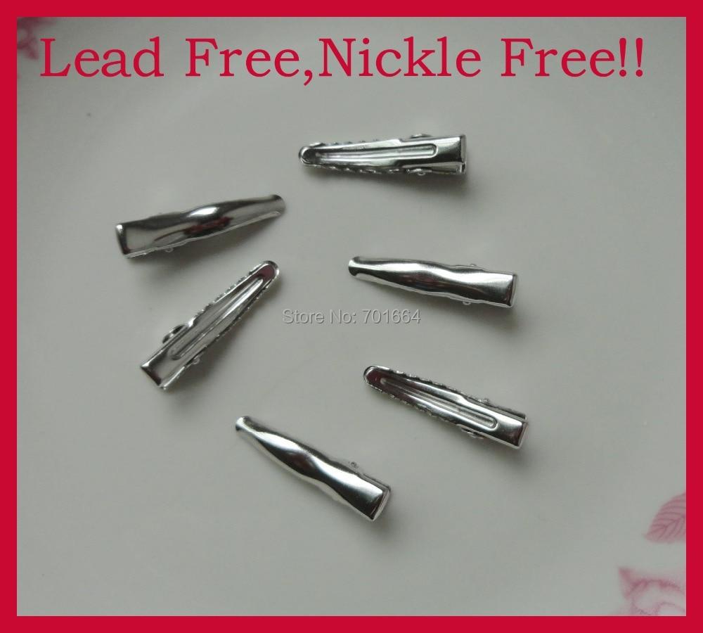 """100 шт серебро 3,0 см 1,1"""" одинарный зубец обычный Металл Аллигатор зажимы с маленькими зубами, без свинца, никель бесплатно шпильки"""