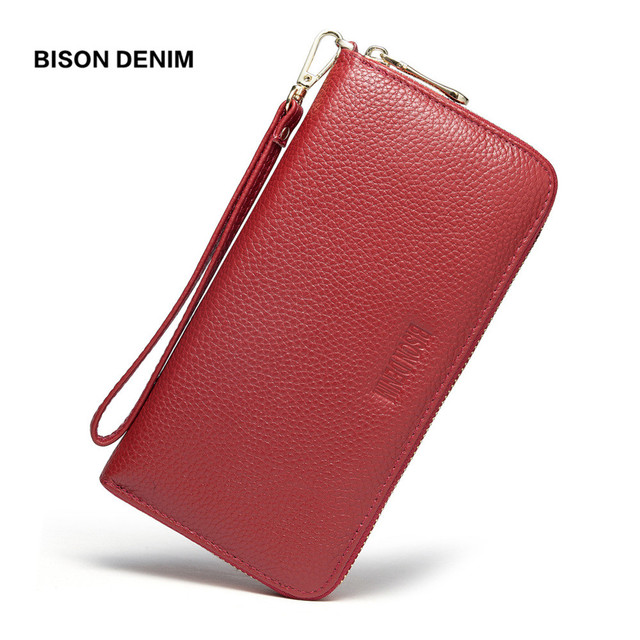 BISON DENIM Genuine Leather Women Wallets Long purse female zipper wristlet strap long purse for coin/phone/credit card N3271