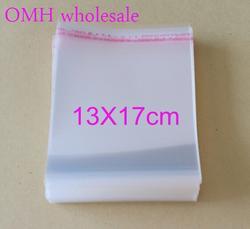 OMH оптовые 200 шт. 13x17 см OPP наклейки самоклеющиеся прозрачный PP пластиковые пакеты для ювелирных изделий Подарочная Упаковка pj369-6