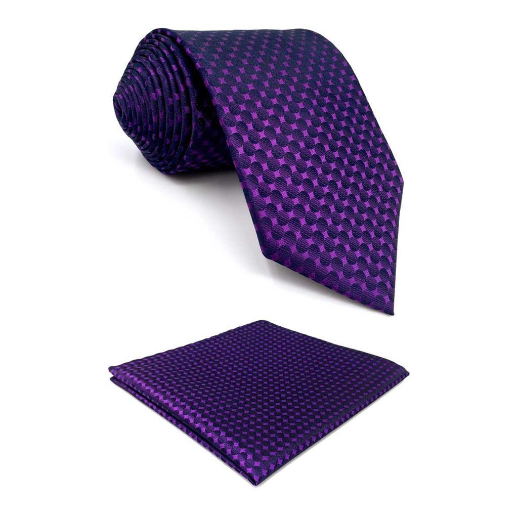 F15 Purple Polka Dots Men's Necktie Set Classic Fashion Ties For Male 63