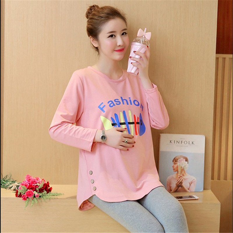 New Arrival 2018 Pregnant Women Spring Fashion Letter Printing Button O Neck Long Sleeve T Shirt Tees Maternity Cotton Shirts long sleeve plush lining button down shirt